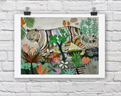 Tiger print / FOR YOU / A4 / A3 Signed Inkjet Fine Art Print / Jungle scene