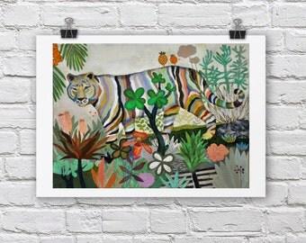 Tiger print / FOR YOU / A4 / A3 Signed Inkjet Fine Art Print / Jungle scene