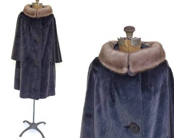Vintage 1960s Women's Faux Fur Swing Coat With Mink Collar, Sutton Place by Sidney Blumenthal, Winter Coat Three-Quarter Bell Sleeves