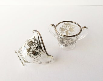 Vintage Silver Overlay Creamer and Sugar Floral Etched Design Clear Glass