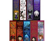 Disney Villains Chibi Bookmarks - Maleficent, The Evil Queen, Ursula, Cruella de Vil, Jafar, Gaston, Hades, Mother Gothel and Hans