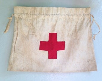 Vintage American Red Cross Ditty Bag/Bedside Bag with Drawstring Top