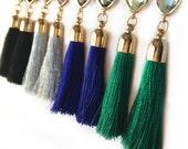 Tassel Earrings - Tassel Earrings w/ Gemstone - Gold - Tassel Jewelry - Dangle Earrings - Statement Earrings - Black - Green - Blue - Silver