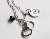Handcuff Necklace, Initial Custom Jewelry, Personalized Police Wife Necklace, Blue Bead Monogram Thin Blue Line  Law Enforcement LEO Cop