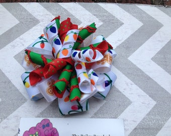 Christmas Stacked Korker Hair Bow