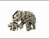 Sterling silver Elephant Brooch with marcasites mother and baby elephant