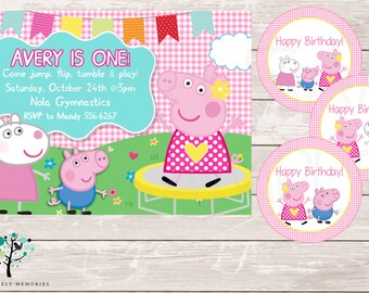 Peppa Pig Invitation, Peppa Pig Gymnastic First Birthday Party theme Invitation - Printable File
