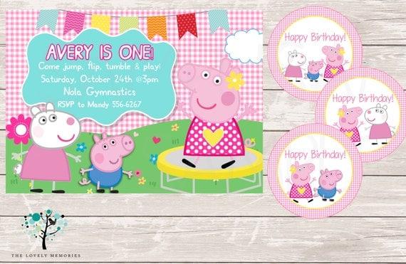 Peppa Pig Invitation Peppa Pig Gymnastic First Birthday Party – Pig Birthday Party Invitations
