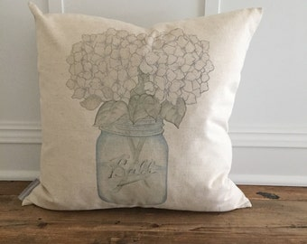 Hydrangeas Mason Jar Pillow Cover