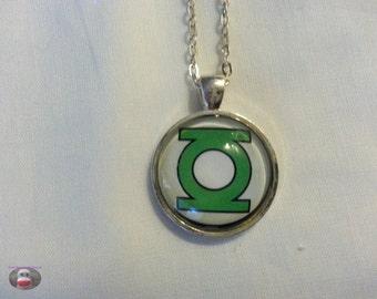 Green Lantern Glass Pendant Necklace