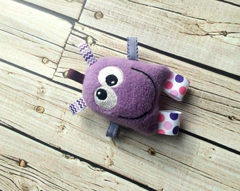 Toy Monster - Cute Monster Plushie Rattle - Baby Rattle - Monster Baby - Purple Monster