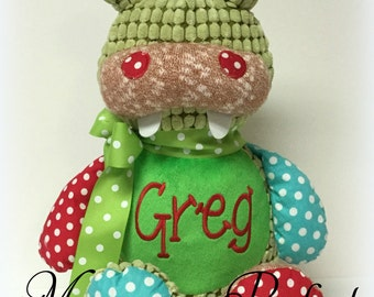 Personalized, Monogrammed Patchwork Crocodile Stuffed Animal