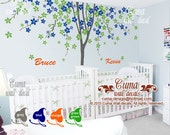 """Twins tree wall decals Boys girls decal with name children stickers living room office decals  - 138""""x94""""  Z211b  by cuma"""
