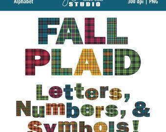 Digital Alphabet Letters Clipart-Fall Plaid-Plaid Alphas-Numbers-Scrapbooking-School Letters-Invitations-Instant Download Clip Art