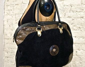 80s Carlo Fiori Genuine Snakeskin and Suede Satchel Bag - Huge