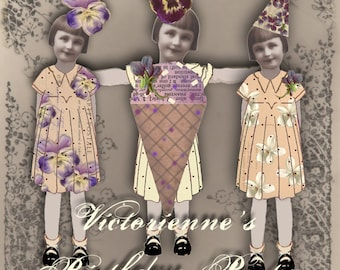 Victorienne's Birthday Party - Digital Paper Dolls - Digital Collage Sheet - Unbirthday Party - Instant Download