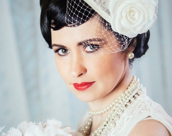 Cream Bridal Fascinator with Silk Rose and Birdcage Veil - White Bridal Teardrop Fascinator - Ivory Wedding Hat