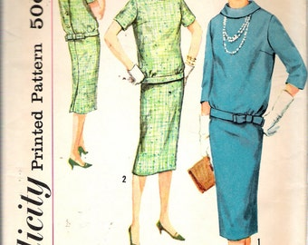 Vintage 1958 Simplicity 2600 Two Piece Dress Sewing Pattern Size 14 Bust 34""