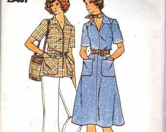 "Vintage 1970's  Butterick 4265 Half Size Dress, Top , Pants & Belt Sewing Pattern Size 20 1/2"" Bust 43"""
