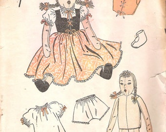 Vintage 1930's  Advance 4039 Heidi Rag Doll & Clothes Sewing Pattern One Size Height 25""
