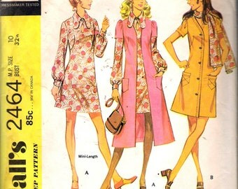 """Vintage 1970 McCall's 2464 Dress, Coat or Coat-dress Sewing Pattern Size 10 Bust 32 1/2"""""""