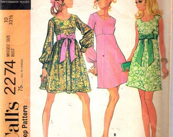 Vintage 1970 McCall's 2274 Retro Dress in Three Versions Sewing Pattern Size 10 Bust 32 1/2""