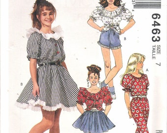 "Vintage 1993 McCall's 6463 Girl's Square Dance Tops, Skirt, Pants & Shorts Sewing Pattern Size 7 Breast 26"" UNCUT"