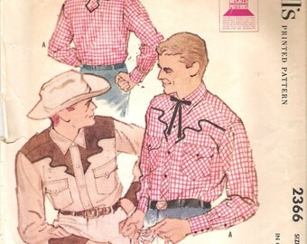 "Vintage 1959 McCall's 2366 Men's Western Shirt Sewing Pattern Size Medium 15 - 15 1/2 Chest 38"" - 40"""