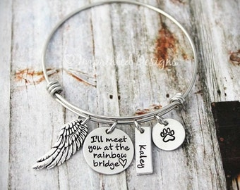 Wire Bracelet - Memorial Bangle - I'll Meet You At The Rainbow Bridge - Loss Of a Pet - Sympathy Gift - Remembrance - Pet Loss - Dog Loss