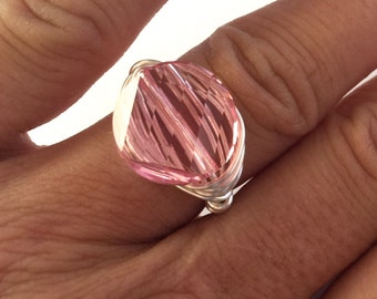 Swarovski Crystal Wire Wrapped Pink Ring, Sparkle RIng, Crystal Ring