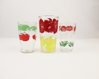 Three Small Drinking Glasses - Mix and Match - Red, Yellow, Green and White  - Short 4 Oz. Juice Glasses