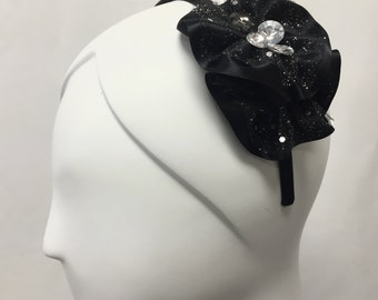 Headband with Black and Clear Bead  on a Handmade Ribbon Flower, ONE OF a KIND