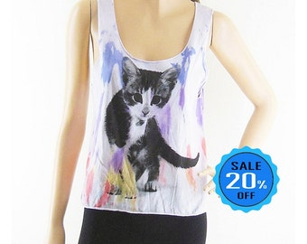 Cat Cute Tank Top Dyed Fabrics vintage shirts trendy clothing fashion tshirt cat tee Women Crop Top Tee Shirt Cat tshirt Screen Print Size S