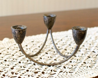Sterling Silver Weighted Trio Candelabra Candlestick Holder Centerpiece by Duchin Creations - Rustic Vintage Home Decor
