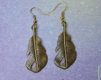 Feather Earrings, Southwestern Feather Dangle Earrings - Bronze Feather Jewelry - SE-B5959=FEW