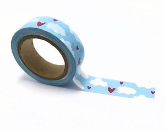 Valentine Washi Tape, Washi Tape, Japanese Tape, Paper Tape, Heart Print Tape, Heart Washi, Party Tape, Wedding Tape, Tape Embellishment