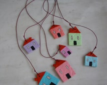 Paper Mache Mobile with Houses No1.