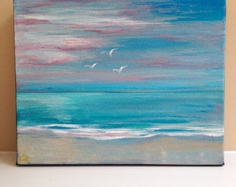 Original Acrylic Painting Abstract Coastal Landscape on Gallery Wrapped Canvas - Pink Sunset