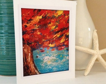 5x7 Fine Art Print Greeting Card from Original Red Fall Leaves Teal Blue Acrylic Abstract Painting