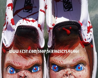 Custom Painted Classic Horror Any Size Vans Converse Toms Chucky Childs Play Creepy Bloody Fantastic Shoes for Halloween or any day
