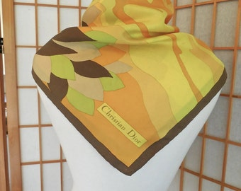 Vintage 60s Christian Dior Silk Scarf Emilio Pucci Style in Orange Yellow and Brown Made in Italy