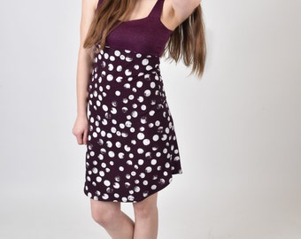 Polca dots summer dress, purple and white, stretch dress