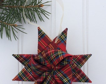 Holiday Fabric Star Ornaments, Christmas Tree Ornament
