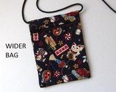 """Pouch Zip Bag Navy Blue Japanese CAT Fabric. Cell Phone Pouch. Maneki Neko, lucky cats. Walkers, markets, travel bag. WIDER bag 6.75""""x5"""""""