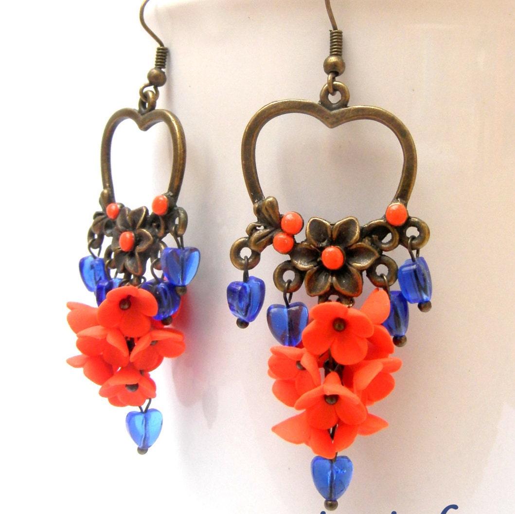 Flower Earrings Heart Earrings Dangle Earrings Orange Blue