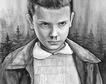 Stranger Things Eleven Portrait, Black and White Version, Watercolor Art Print, Stranger Things Art, Stranger Things Poster