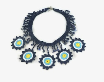 Crochet Necklace Evil Eye Necklace / Statement Jewelry / Boho Crochet Bead Necklace / Crochet Choker / Gift under usd 30