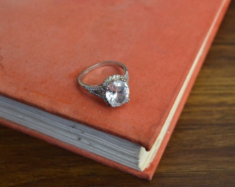 Vintage Sterling Silver Fancy Crystal Stone Ring Sz 10