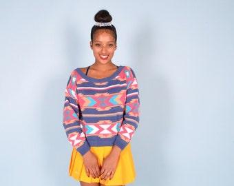 Vintage 80's Tribal Print Cropped Sweater Sz M