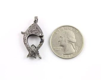 Pave Diamond, Pave Clasp, Diamond Lobster Clasp, Diamond Clasp, Oxidized Silver, Diamond Findings, Size 29X14 mm. (DC-023)